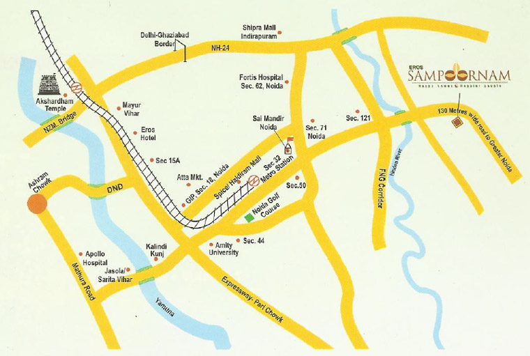 Eros Sampoornam noida extension location map