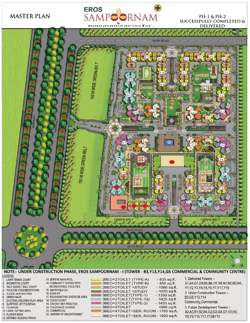 Eros sampoornam noida extension master plan 9911 68 33 44 for Planner site